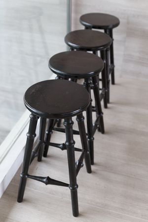 stool: classic wooden chair stool at the terrace
