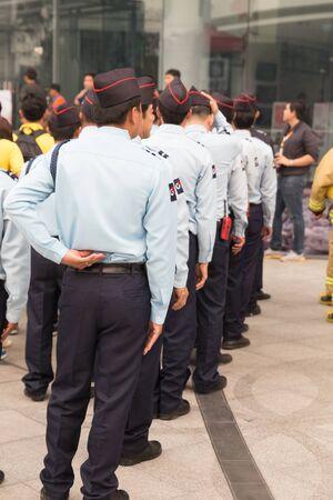 hazmat: Chiang Mai, Thailand - March 25, 2016: security guard in mock disaster drill at Maya shopping center in Chiang Mai, Thailand on March 25, 2016. Editorial