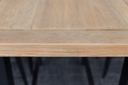 table top: old brown wooden table top (selective focus)