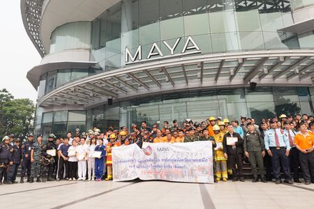 hazmat: Chiang Mai, Thailand - March 25, 2016: Paramedic in mock disaster drill at Maya shopping center in Chiang Mai, Thailand on March 25, 2016.