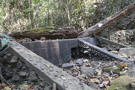 weir: weir on cascade waterway in forest in drought for irrigation