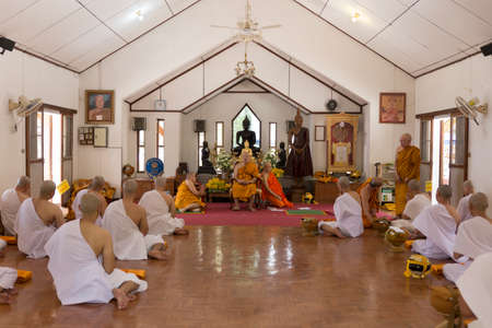 ordination: Chiang Mai, Thailand - April 30, 2016: man in buddhist monk ordination ceremony at Umong temple in Chiang Mai, Thailand on April 30, 2016. Editorial