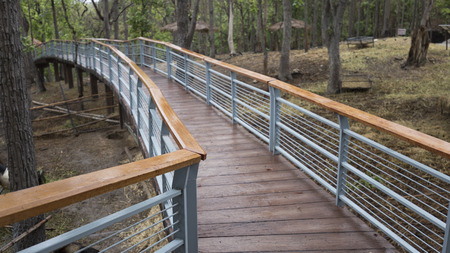 elevated walkway: elevated pedestrian walkway in park in rainy day Stock Photo