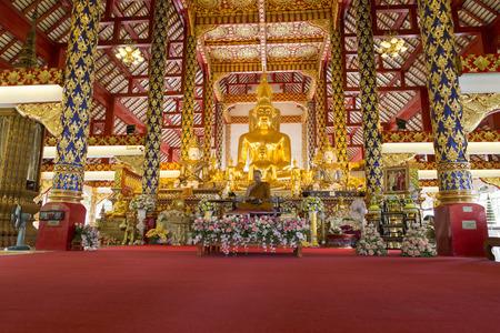 preachment: Chiang Mai, Thailand - August 28, 2016: buddhist monk sit in church before preachment at Suandok temple Editorial