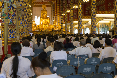 preachment: Chiang Mai, Thailand - August 28, 2016: people listen to monk preachment in buddhism church temple