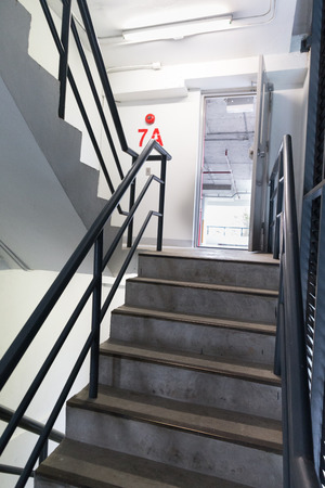 building safety: fire escape stair way in building - safety plan Stock Photo