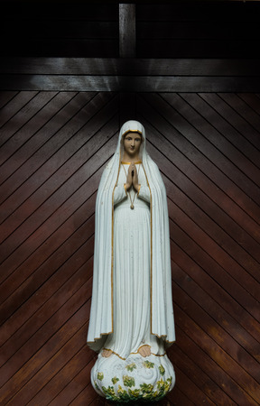 praying virgin mary statue. holy woman sculpture in roman catholic church. our lady image Stok Fotoğraf