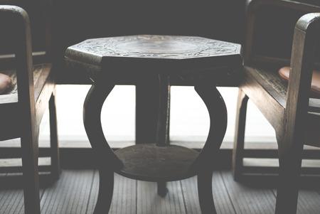 Octagonal wooden table Archivio Fotografico - 96362610