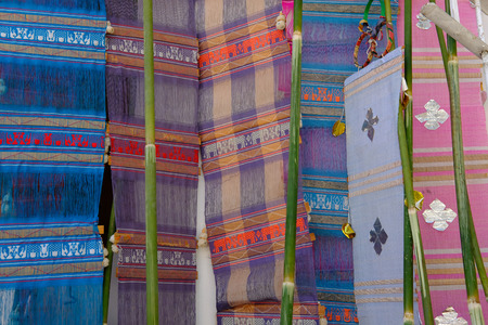 colorful traditional fabric lanna flag from northern Thailand