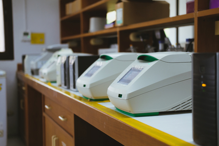 DNA copying in real time PCR thermal cycler in lab Stock Photo