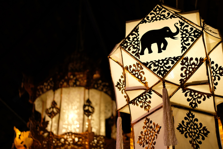 traditional decorative paper lantern from northern Thailand