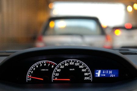 illuminated car dashboard control with traffic light Stock Photo
