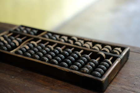 old vintage retro abacus on wooden table