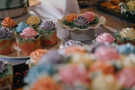 wedding birthday homemade cupcakes with sweet rose flower