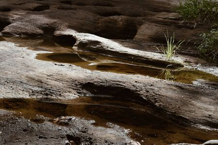 cracked rock in grand canyon. crack rift crevice in stone
