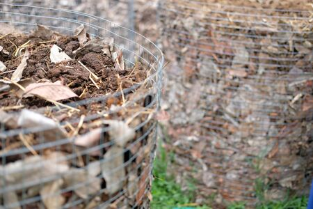 organic compost heap. fertilizer production for soil cultivation in agriculture industry