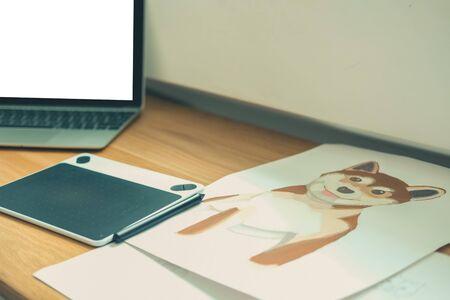 artist designer drawing artwork at creative design illustrator workplace Фото со стока