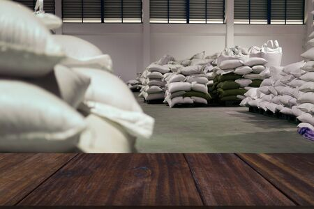 green unroasted coffee bean in sack in food factory industry
