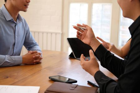human resource manager interviewing candidate for job vacancy. applicant explaining profile for career recruitment Stock Photo - 129706355