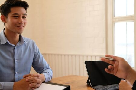 human resource manager interviewing candidate for job vacancy. applicant explaining profile for career recruitment Stock Photo - 129706366