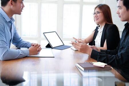 human resource manager interviewing candidate for job vacancy. applicant explaining profile for career recruitment Stock Photo - 129706370