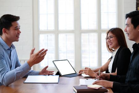 human resource manager interviewing candidate for job vacancy. applicant explaining profile for career recruitment Stock Photo - 129706565