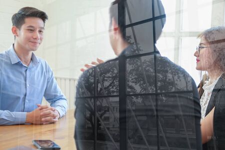 human resource manager interviewing candidate for job vacancy. applicant explaining profile for career recruitment Stock Photo - 129708353