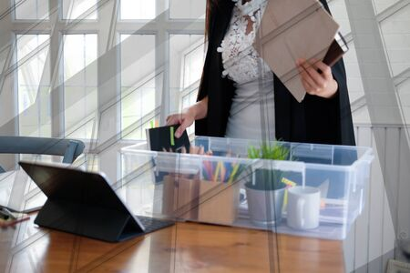 intern woman employee with personal belongings in box being hired fired. starting new career & resignation.