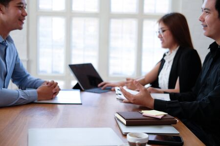 human resource manager interviewing candidate for job vacancy. applicant explaining profile for career recruitment Stock Photo - 129708559