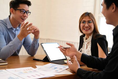 businesswoman working discussing with colleague. business people have a meeting. businessman working on startup project with co-worker team.