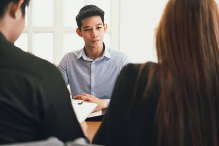 human resource manager interviewing candidate for job vacancy. applicant explaining profile for career recruitment Stock Photo - 129708592