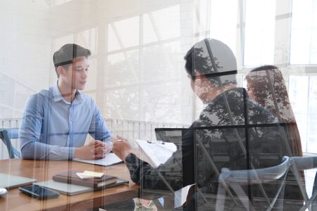 human resource manager interviewing candidate for job vacancy. applicant explaining profile for career recruitment Stock Photo - 129708763