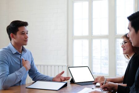 human resource manager interviewing candidate for job vacancy. applicant explaining profile for career recruitment Stock Photo - 129708774
