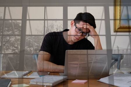 startup man feeling stressed overworked tired frustrated upset desperate from hard work