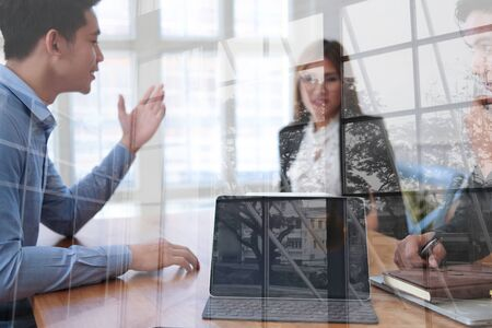 human resource manager interviewing candidate for job vacancy. applicant explaining profile for career recruitment Stock Photo - 129709379