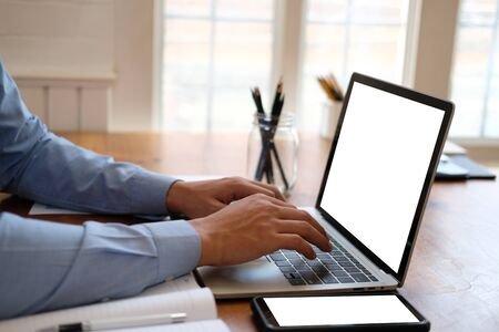 businessman startup man working with computer at workplace.