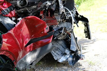 crashed damaged broken car. automobile crash collision accident Stock Photo