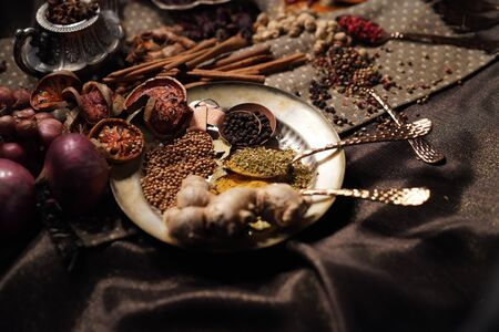 spices herbs seasoning condiment. food ingredient cuisine for healthy lifestyle in dark tone