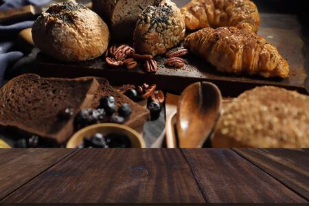bread pastry bakery dried prunes. baked homemade food in dark tone Stockfoto