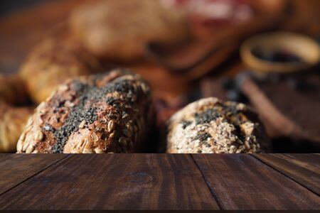 bread pastry bakery. baked homemade food in dark tone