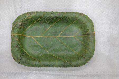 eco friendly disposable dish made from natural leaf. compostable tableware for reducing waste in environment