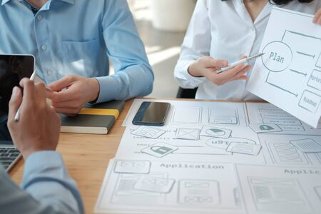 user experience UX designer designing web on smart phone layout. UI planning mobile application. developer work with business prototype Reklamní fotografie