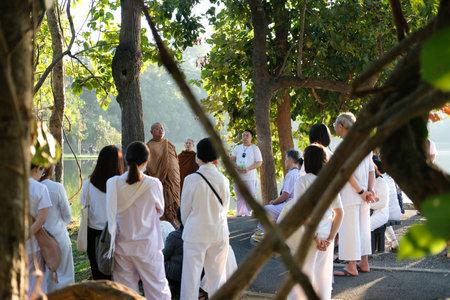 Chiang Mai, Thailand -  November 19, 2020: buddhist monk teaching dhamma to people in Chiang Mai university in Chiang Mai, Thailand on November 19, 2020. Redakční