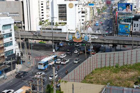 Bangkok, Thailand - November 30, 2020: Traffic in Rajaprarop area in Bangkok, Thailand on November 30, 2020.