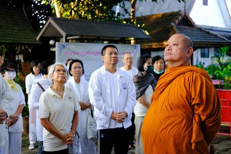 Chiang Mai, Thailand -  November 20, 2020: buddhist monk teaching dhamma to people in Chiang Mai university in Chiang Mai, Thailand on November 20, 2020. Redakční