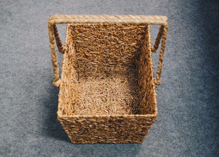 woven wicker rattan craft basket. natural material for environment conservation