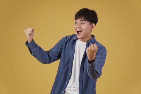 portrait of glad cheerful happy rejoicing excited overjoyed young asian man dressed casually isolated on yellow studio background