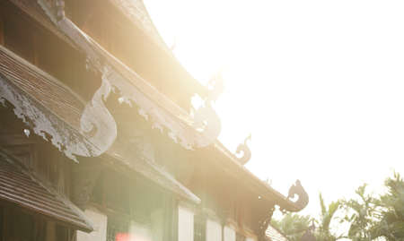 sunlight on wooden antique ancient buddhist church in buddhism temple Banque d'images