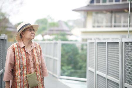 old elderly female elder woman traveller traveling on footbridge in park. senior leisure lifestyle Banque d'images