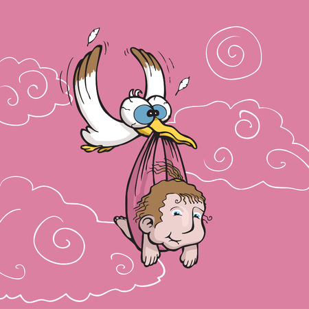 Vector illustration of a stork carrying a cute baby